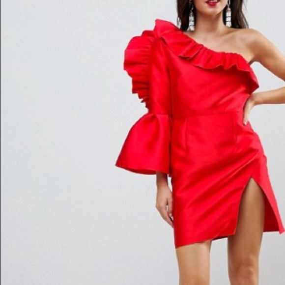 a2983fa8516 Dresses   Asos Ruffle One Shoulder Cocktail Mini Dress   Poshmark